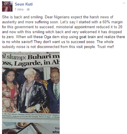 Read Seun Kuti's reaction to IMF boss visiting Nigeria