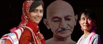 Malala Yousafzai-Gandhi-Aung San Suu Kyi