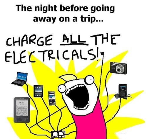 The Night Before Going Away On A Trip - Charge All The Electricals!