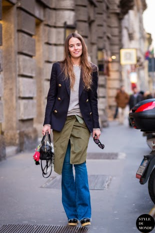 Pantalones de campana denim street style 2015