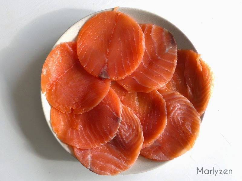 Disques de saumon fumé.