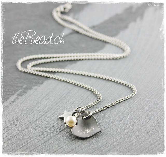 Edelstahl Collier mit Gravur und Swarovski Perle