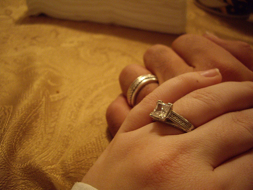engagement rings are often worn on the fourth finger of the left hand