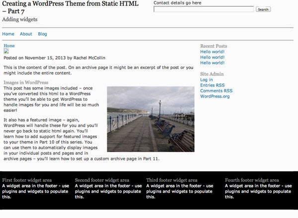 Creating a WordPress Theme from Static HTML – Adding Widgets