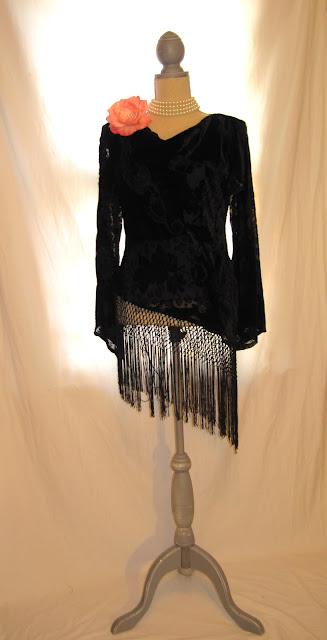 Vintage Slanted Hem Fringed Blouse, Women's Special Occasion Velvet Top