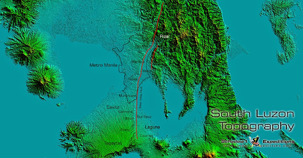 SRTM 1 arcsecond processed topography for South Luzon showing West Valley Fault Line - Schadow1 Expeditions