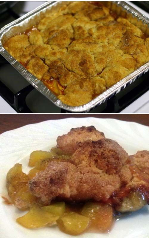 The easiest peach cobbler recipe. Only 5 ingredients are needed.