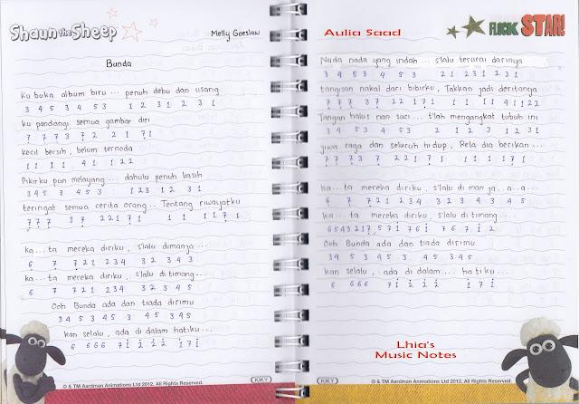 Catatan Not Lagu - Bunda (Piano/Pianika Pemula) - not angka