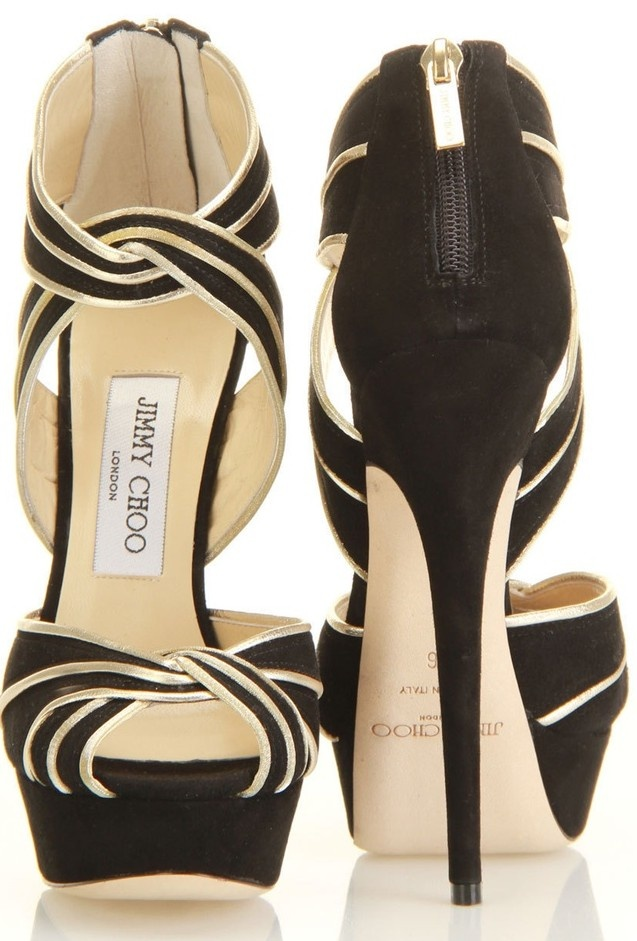 Trending black and gold stiletto heeled sandals