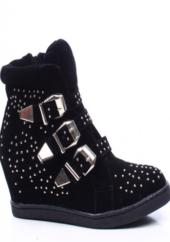BLACK VELVET THREE BUCKLE STRAPS STUDDED WEDGE SNEAKERS