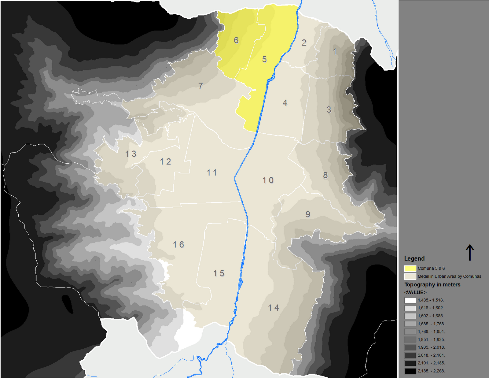 figure 6 urban area of the city of medellin with the comunas political distribution in yellow comuna s 5 and 6