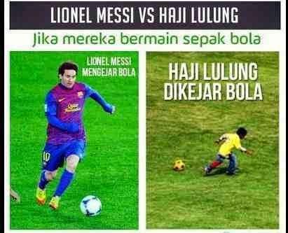 Meme Perbedaan Messi dengan Haji Lulung
