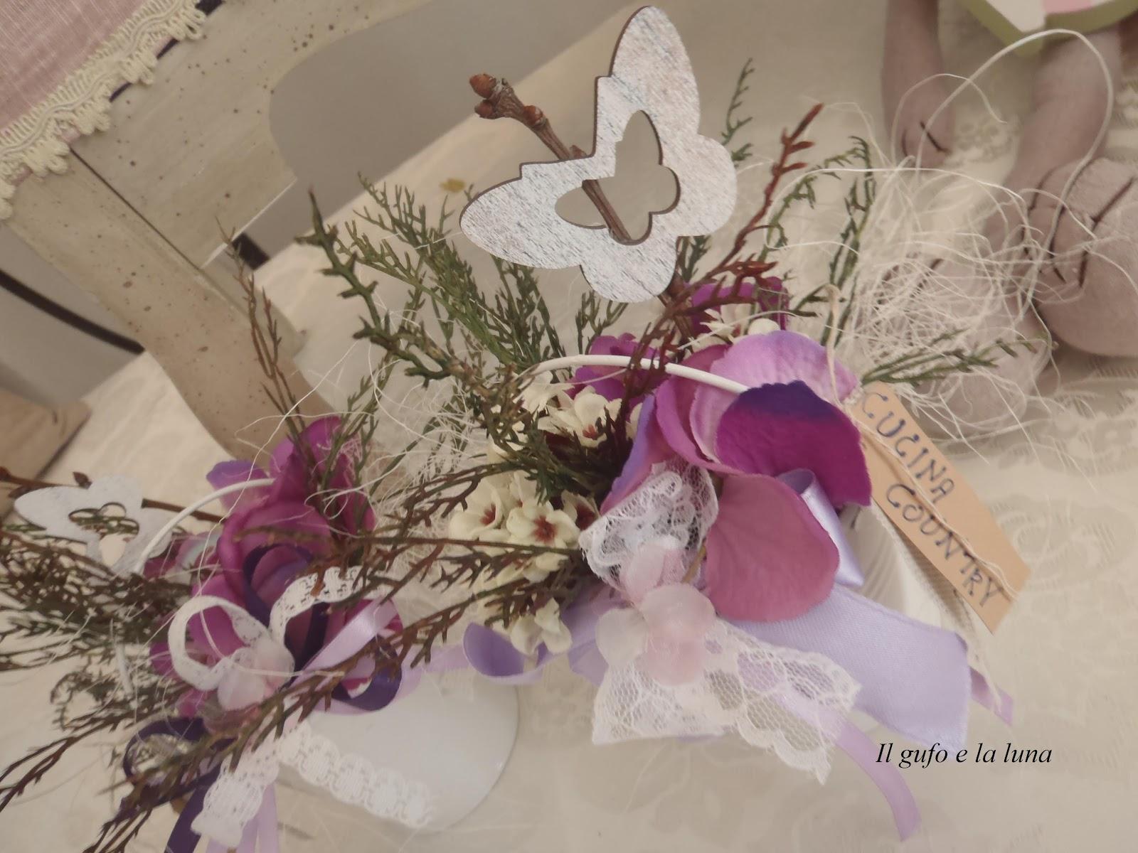 Il gufo e la luna shabby chic country style con i fiori for Fiori di stoffa shabby chic