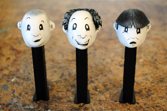 ... as well as curly's replacement shemp (x2). same style as my past pez, ...