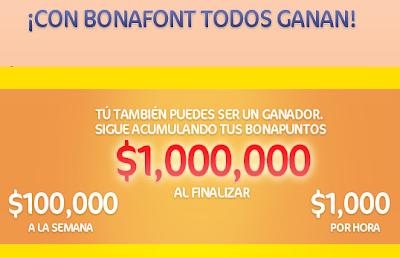 premios 732 Premios de $1,000.00 pesos M.N. 8 premios semanales de $100,000 pesos M.N. 1 premio final de $1,000,000 de pesos M.N. concurso bonapuntos con bonafont todos ganan Mexico 2011