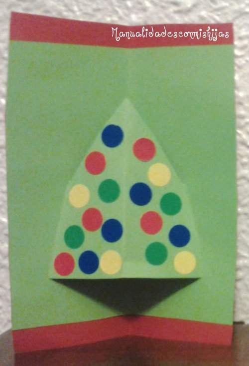 Manualidades con mis hijas tarjeta navide a 4 a partir - Manualidades tarjeta navidena ...