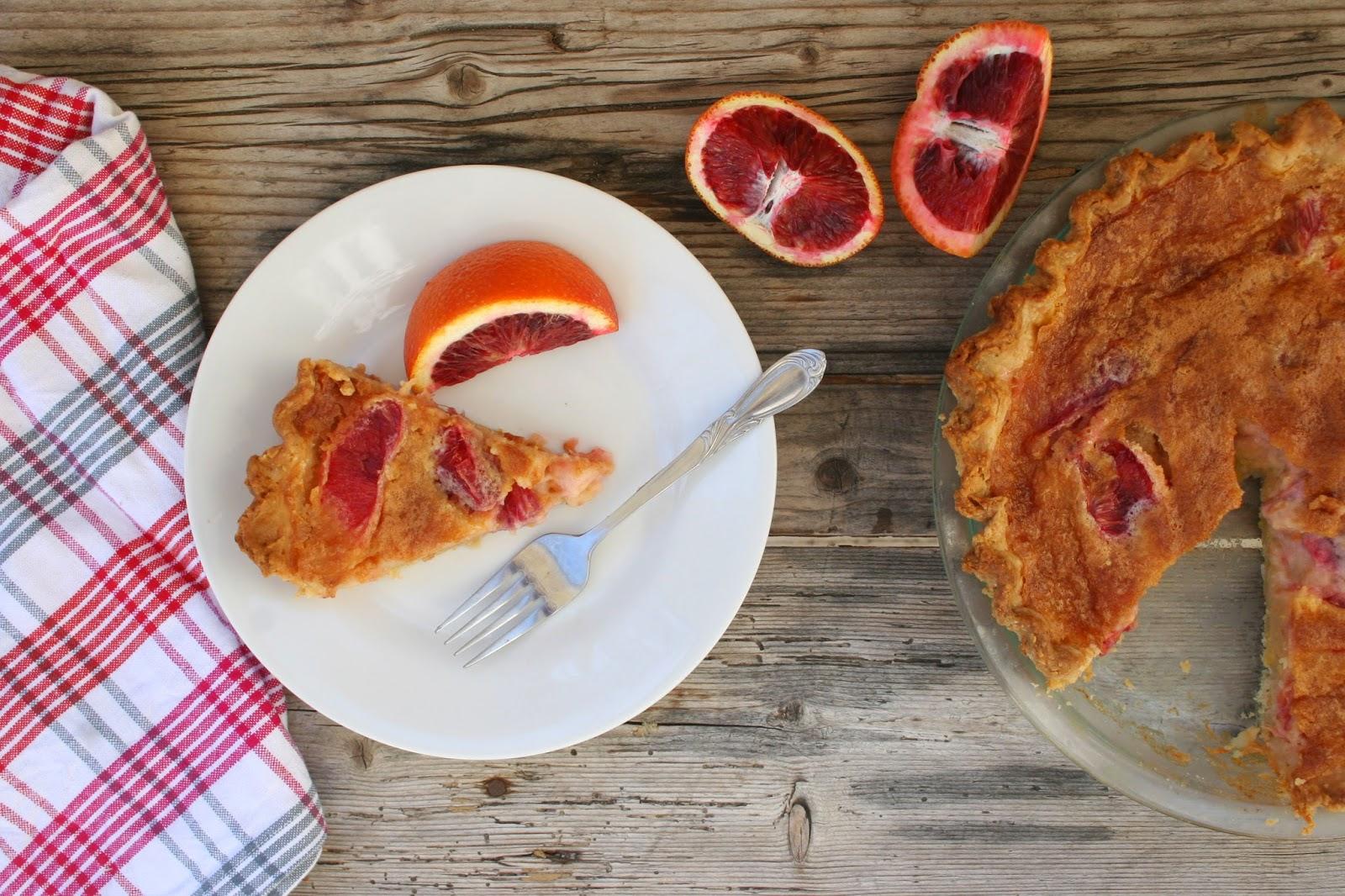 Blood Orange Chess Pie with Slice
