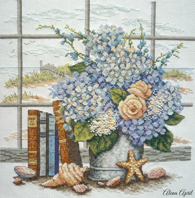 Hydrangeas and Shells (Гортензия и ракушки), Dimensions 35166