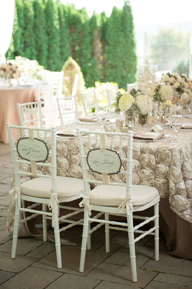 Real wedding romantic elegance by rennard photography for Table and chair decorations for weddings