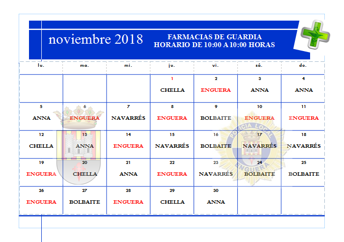 FARMACIAS DE GUARDIA NOVIEMBRE 2018