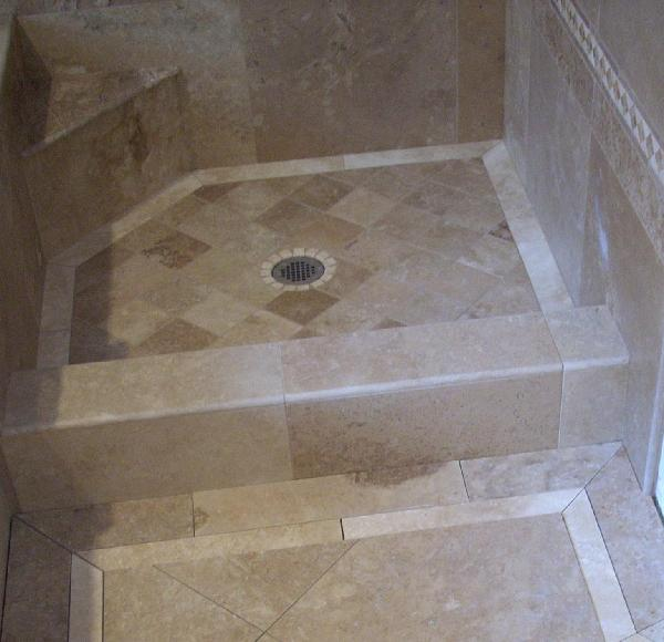 A + TILE HOME REMODELING 205-422-1758: Travertine Shower Floor