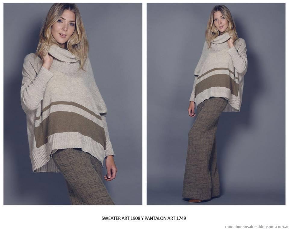 Moda invierno 2015 ropa de mujer tejidos.