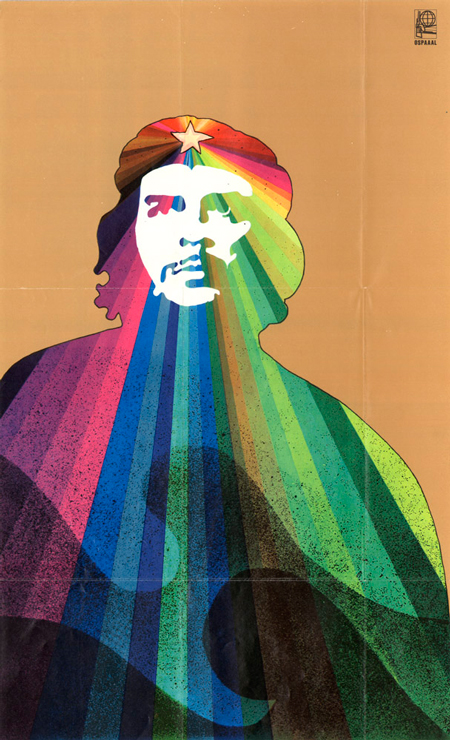1969 poster showing Korda image of Che Guevara with flowing colors - by A Rostgaard
