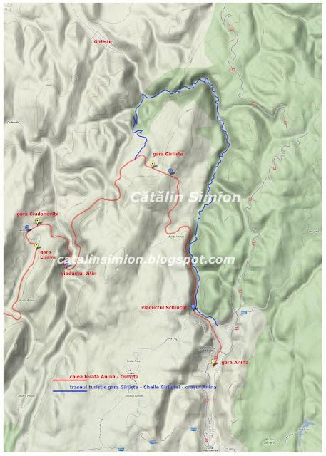 Harta Cheile Girlistei - calea ferata Anina - Oravita