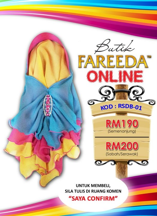 Beli Tudung Fareeda Secara Online di FB Fareeda
