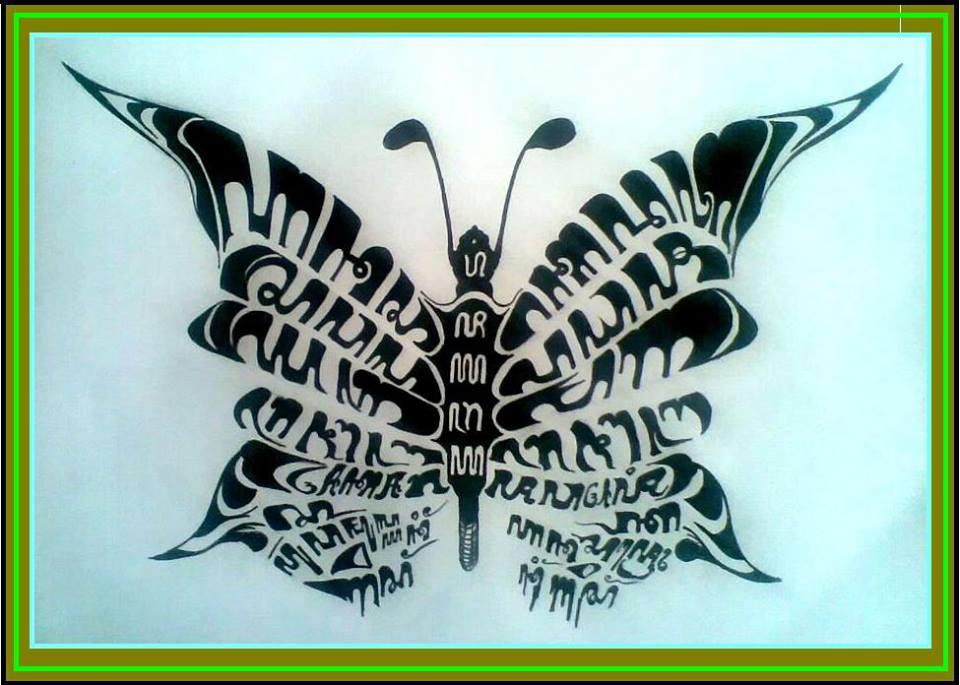 bentuk kaligrafi kupu kupu tertulis dari atas adalah ha na ca ra ...