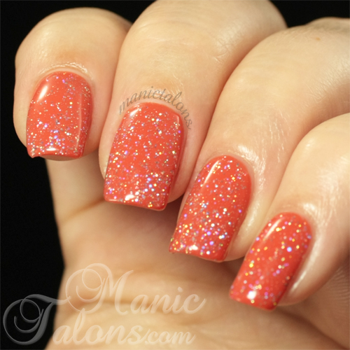 Revel Nail Gel Polish Disco Swatch over Mai Tai
