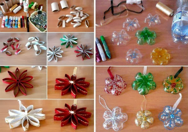 Creative christmas craft ideas, reused bottle decoration at home, innovative hand made idea for Christmas, recycled party decorations