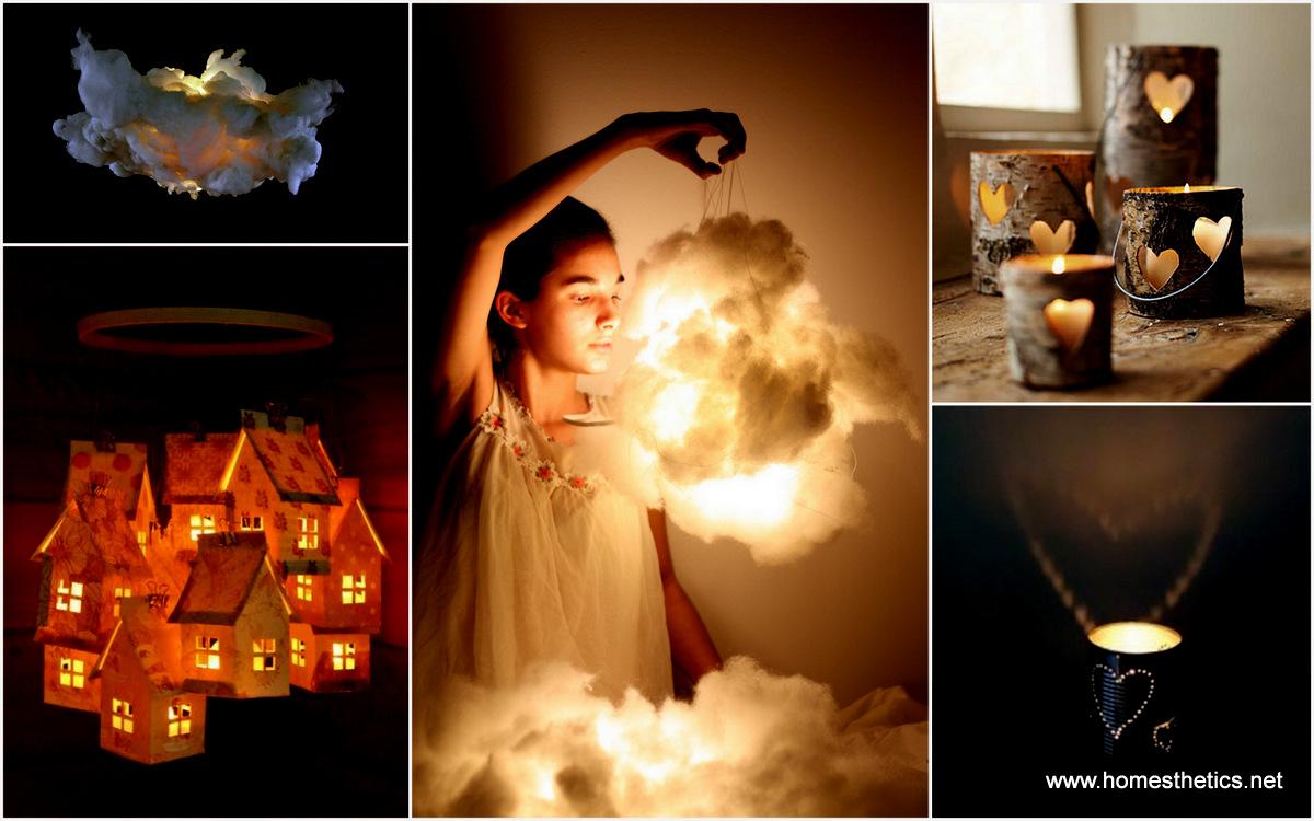 Amazing world 30 easy diy beautiful shimmering luminaires for Luminaire homemade