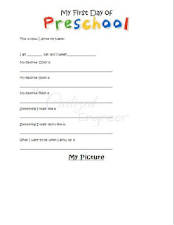 preschool interview form first day of school questions