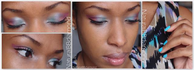Maquillage de Soirée Romantique   Violet, turquoise et pointe d'orange :