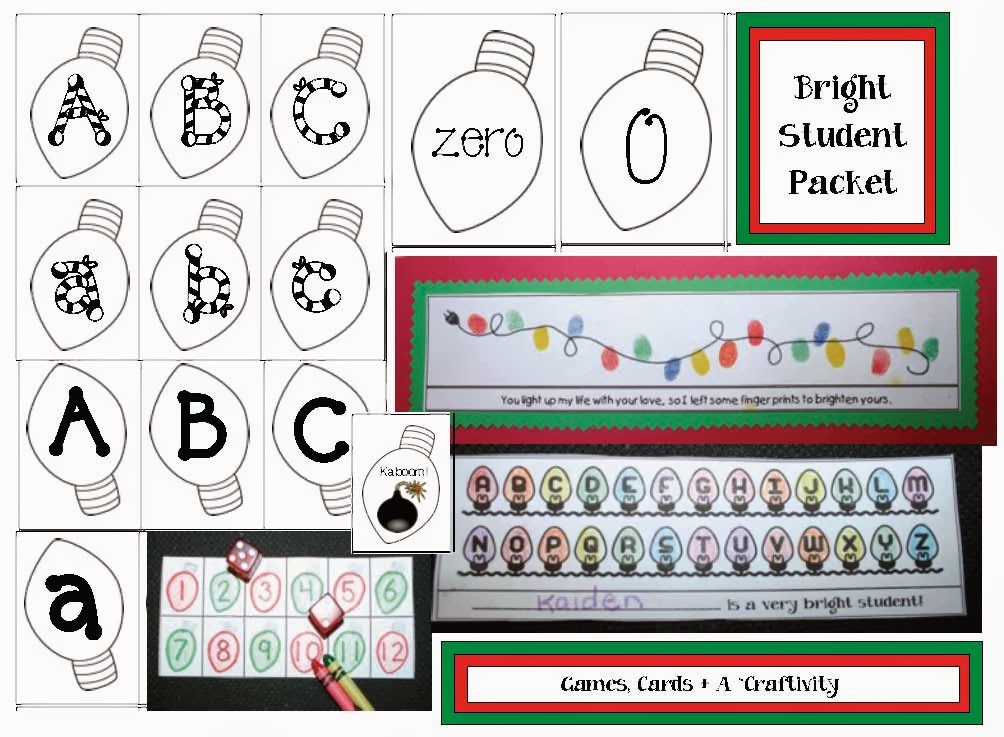 Classroom Freebies: Christmas Lights Packet