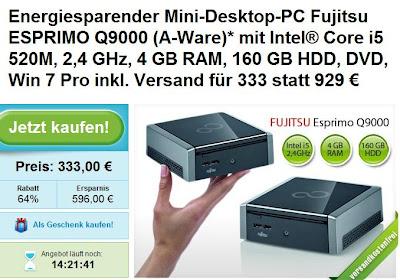 Desktop-PC Fujitsu Esprimo Q9000 mit i5-Core als A-Ware für 333 Euro