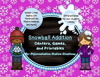 http://www.teacherspayteachers.com/Product/Snowball-Addition-Addition-to-20-Number-Lines-Missing-Addends-Common-Core-1018066