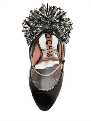 Rochas Black patent embellished ankle strap block heel pumps
