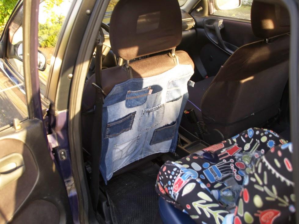 Üléshuzatvédő autóba, zsebes tároló, farmerből