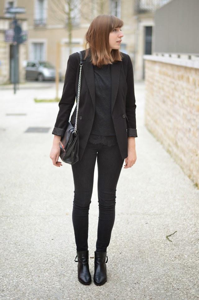 total look noir zara
