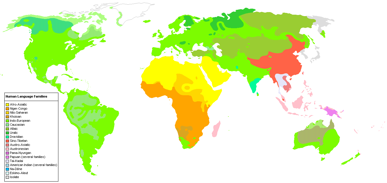Human Language Families - Source: Wikipedia