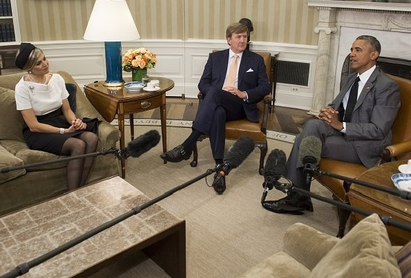 President Barack Obama meets with King Willem-Alexander and Queen Maxima of the Netherlands in the Oval Office of the White House