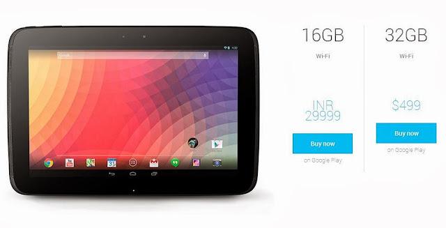 Google Nexus 10 listing
