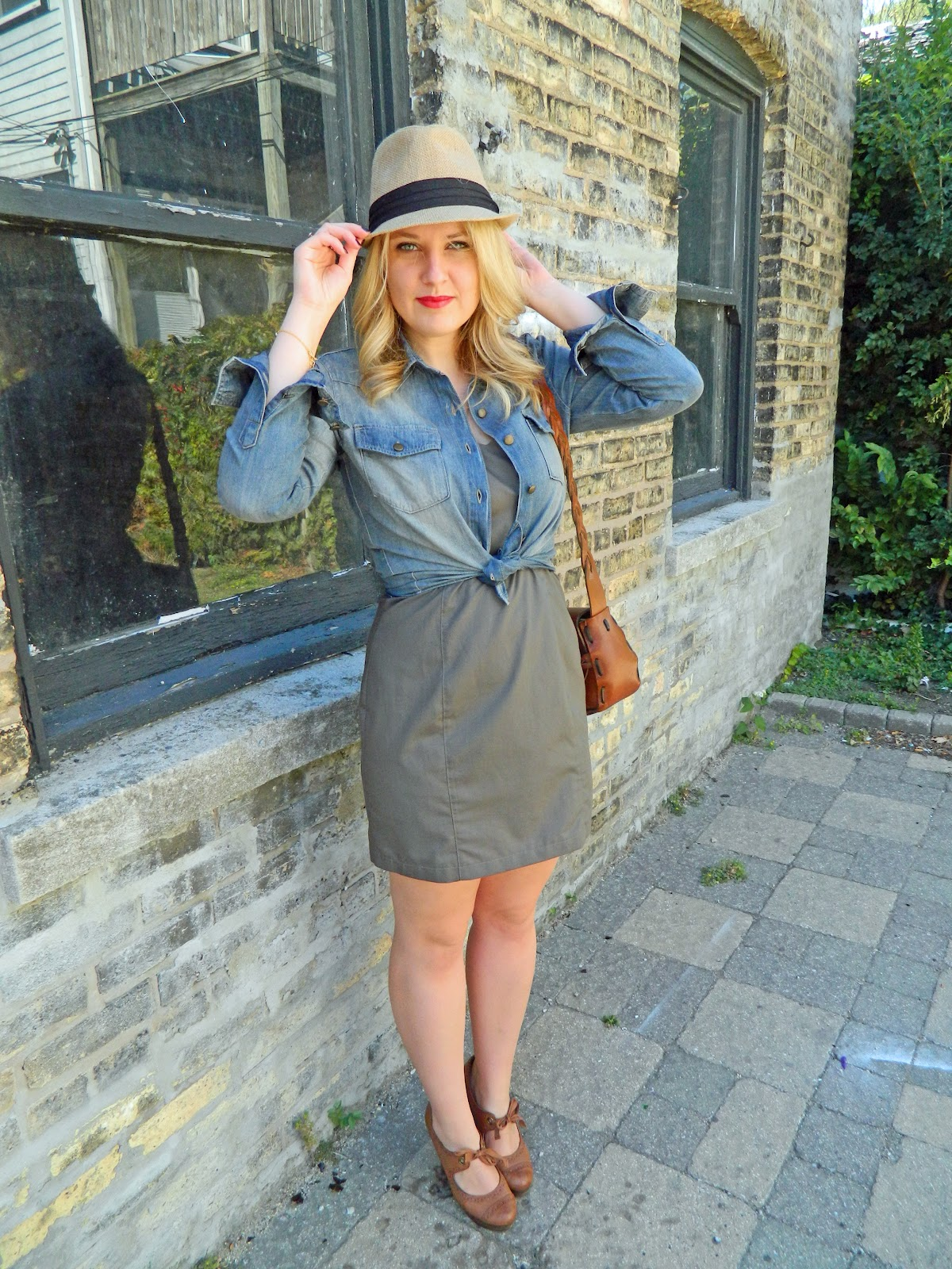 chambray shirt and vintage bag