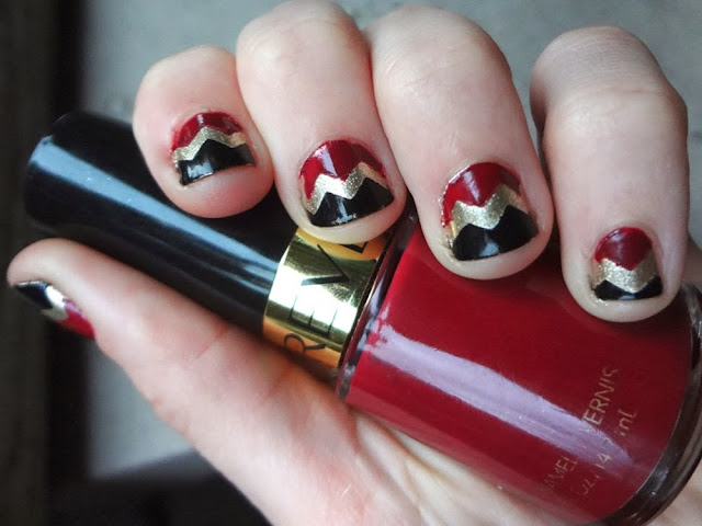 aka Bailey, Chevron nails, burgundy, gold, black, nail polish