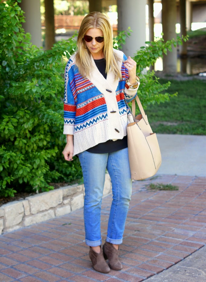 Oversized sweater boyfriend jeans and ankle boots