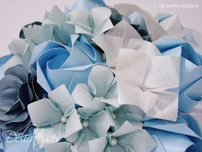 blue paper bouquet