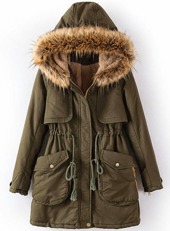 See more Army Green Hooded Long Sleeve Drawstring Pockets Coat