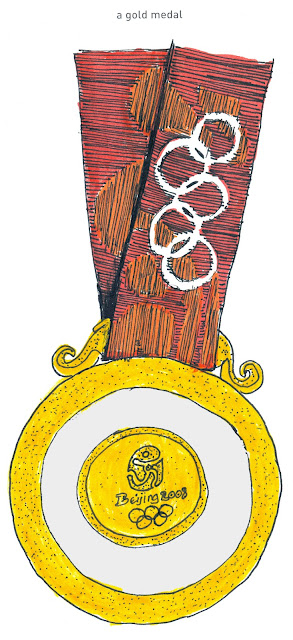 642 Things to Draw 41 - A Gold Medal - from the Beijing Summer Olympics in 2008 - Watercolour with Ink by Ana Tirolese 2012